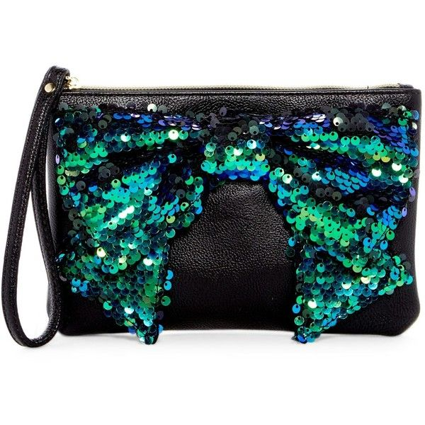 Betsey Johnson Fancy Bow Wristlet ($25) ❤ liked on Polyvore featuring bags, handbags, clutches, black, betsey johnson, betsey johnson wristlet, sequin wristlet, wristlet clutches and betsey johnson handbags