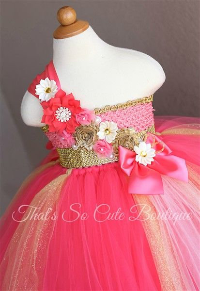 Coral Flower Girl Tutu Dress-coral, dress, tutu, tutu dress, birthday, indian, flower girl, gold, ivory, fluffy, wedding