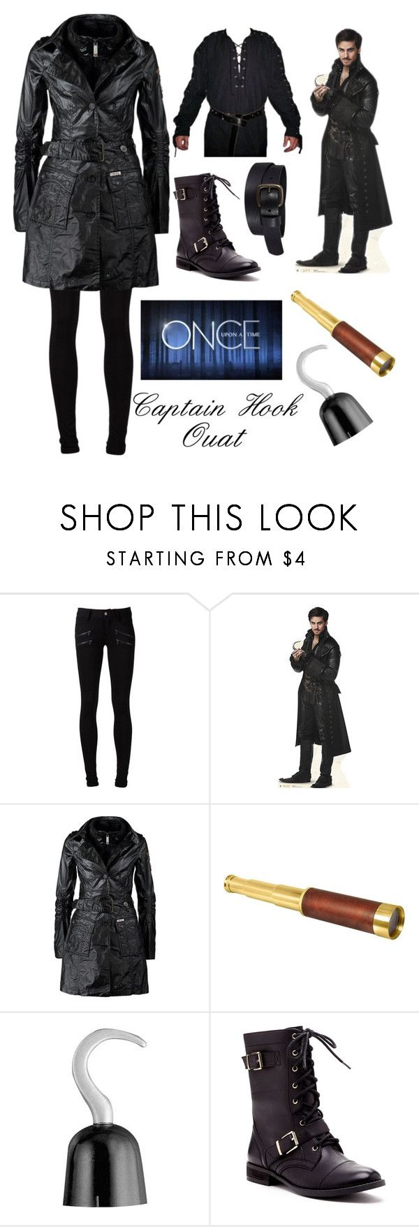 """""""Read description Captain Hook once upon a time cosplay set 4"""" by ginaisanerd ❤ liked on Polyvore featuring Paige Denim, Once Upon a Time, Khujo, Spy Optic, Sole Society and Uniqlo"""
