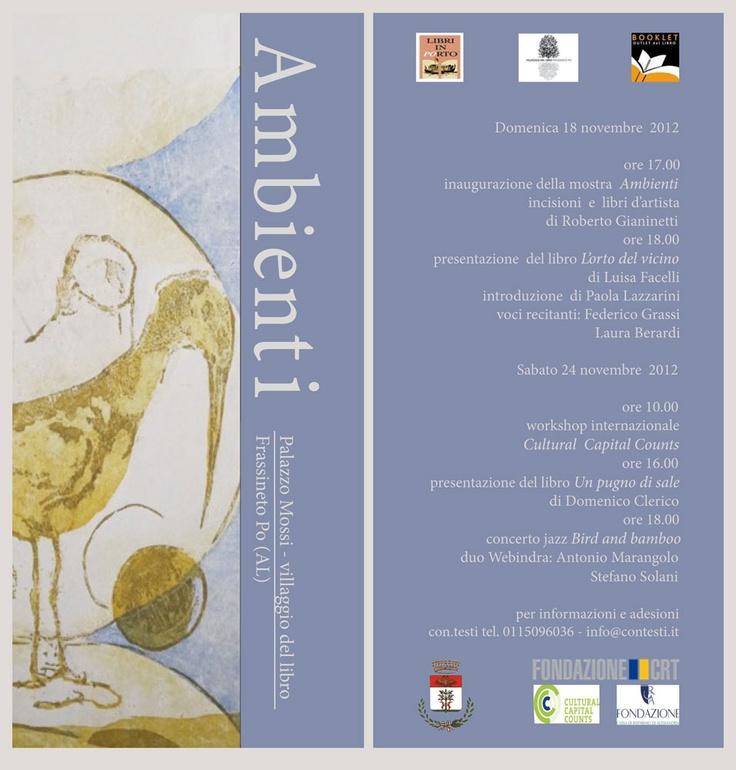Libri d'artista al Villaggio del Libro di Frassineto Po - 17,18, 24 e 25 novembre 2012