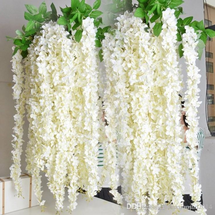 CHEAPER THAN ETSY  Discount Extra Long White Artificial Silk Hydrangea Flower Wisteria Garland Hanging Ornament For Garden Home Wedding Decoration Supplies From China | Dhgate.Com