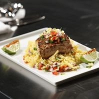 Pan-Seared Mahi Mahi with Mango Salsa and Paella as seen on Fox TV channel (recipe included).
