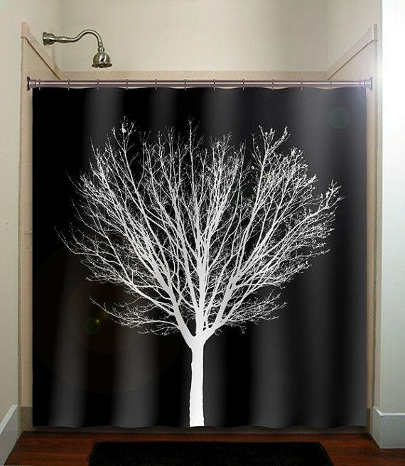 white winter tree black shower curtain bathroom decor fabric kids bath white black custom color curtains