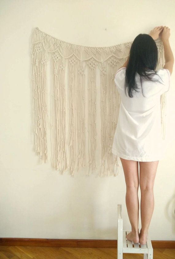 macrame curtain macrame wall hanging boho by TheWovenDreamFactory