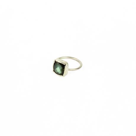 Muchi Galoosh Square Labradorite Ring – Silver from Ornamental Morocco