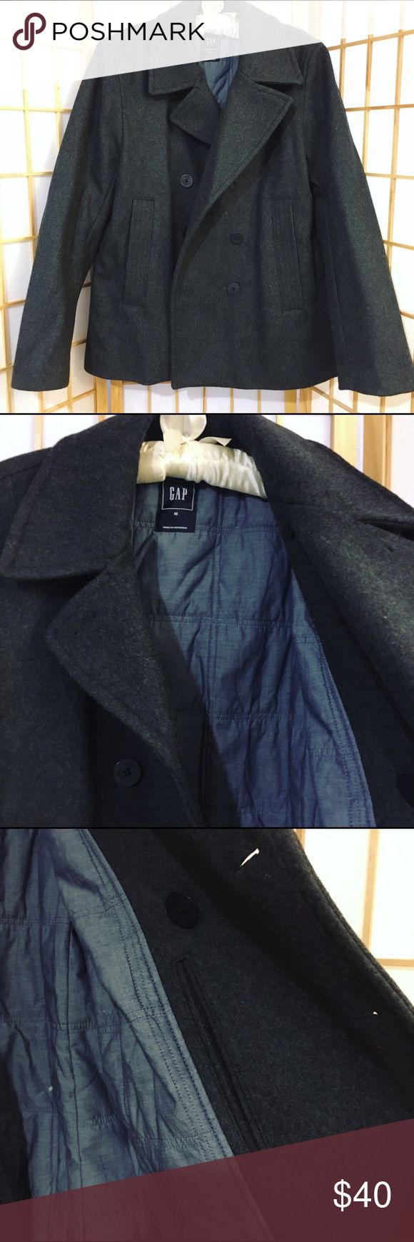 Gap Men's peacoat NWOT Gap men's peacoat in dark gray. We live in FL and although it gets cold it's never cold enough for my husband to wear this peacoat I got him. It's true to size and even comes with a secret pocket (for secret snacks?) 😍💋 GAP Jackets & Coats Pea Coats