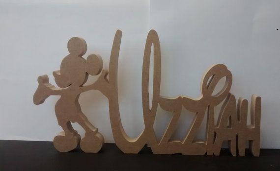 DISNEY stijl houten vrijstaande naam plaques met Mickey Mouse-motief / borden…