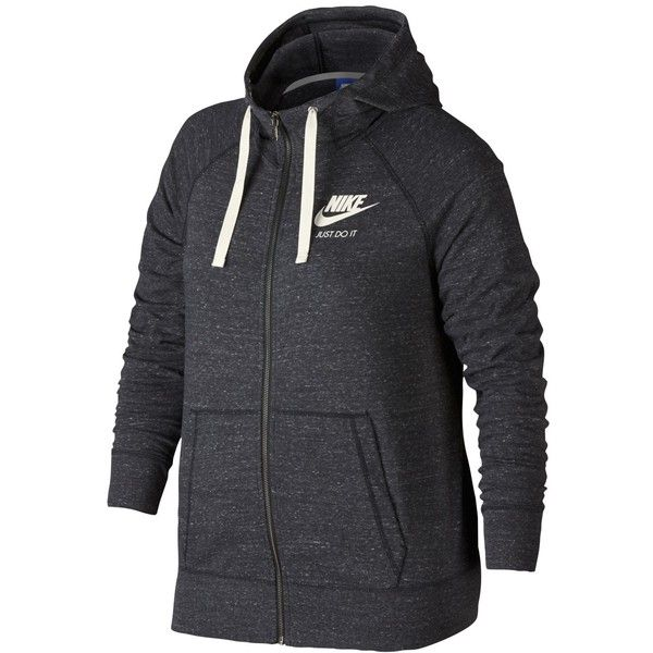 Nike Plus Size Sportswear Gym Vintage Hoodie ($60) ❤ liked on Polyvore featuring plus size women's fashion, plus size clothing, plus size tops, plus size hoodies, nike hoodie, plus size zip hoodies, zipper hoodies, plus size hoodie and zip hoodie