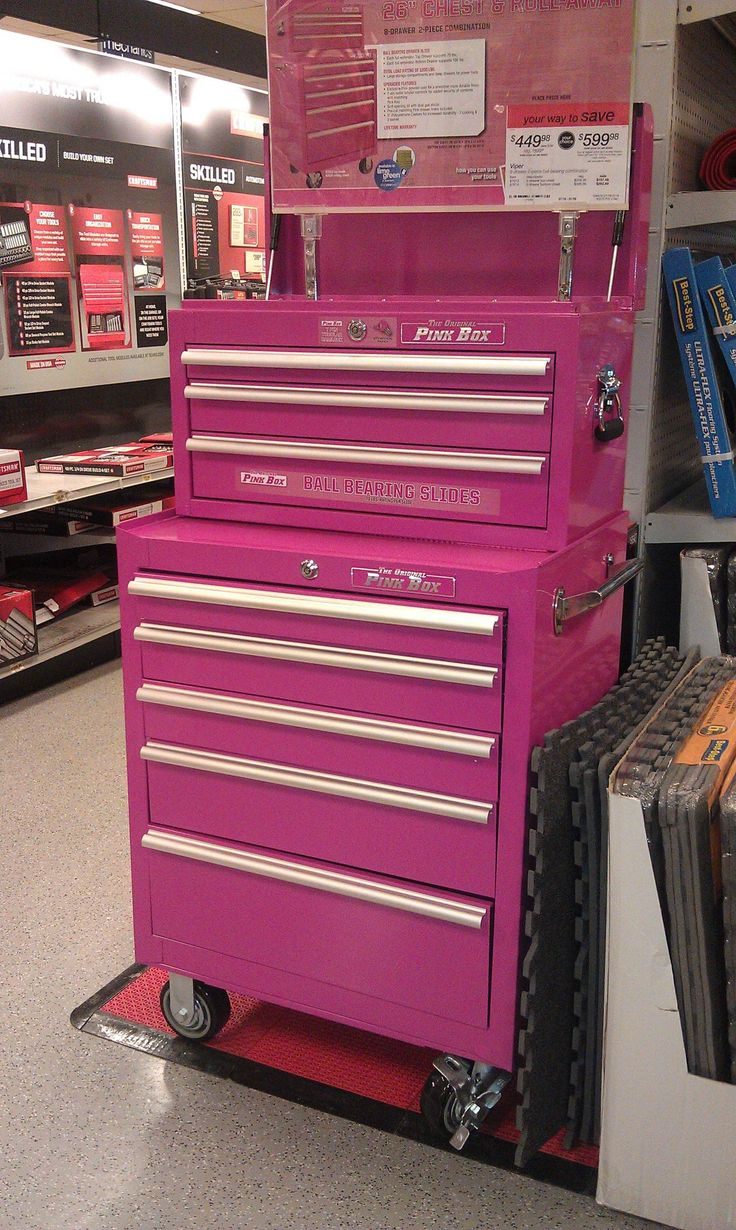 Craft box on wheels - A Pink Tool Box I Need This In My Sewing Room For Storage