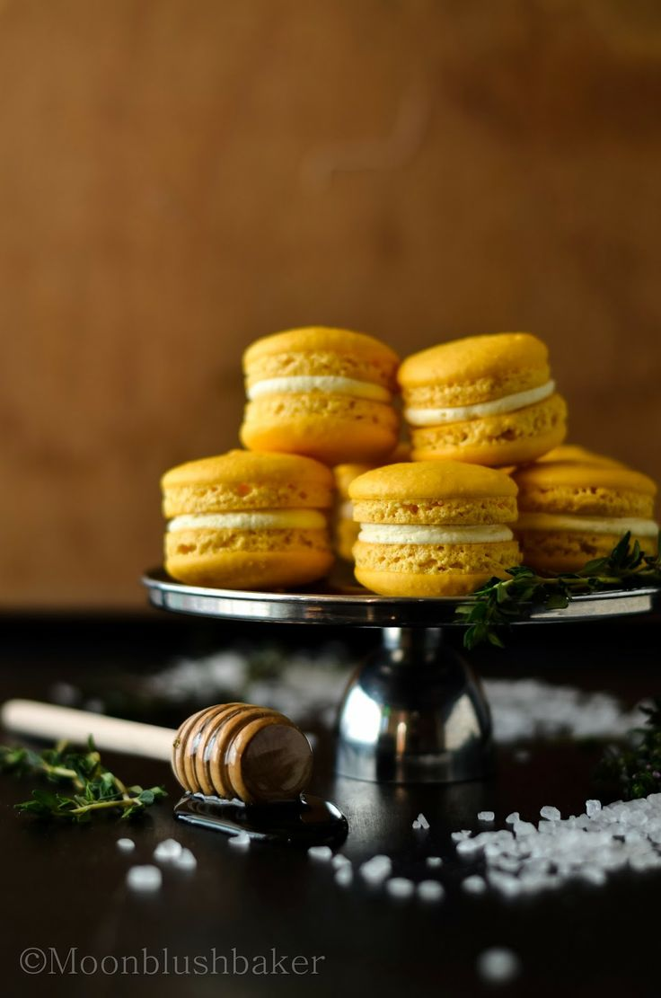 Lemon macarons with salted honey and thyme buttercream.