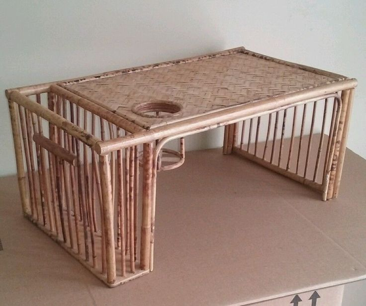Vintage Bamboo Bed Tray Magazine Paper Holder Cup Holder