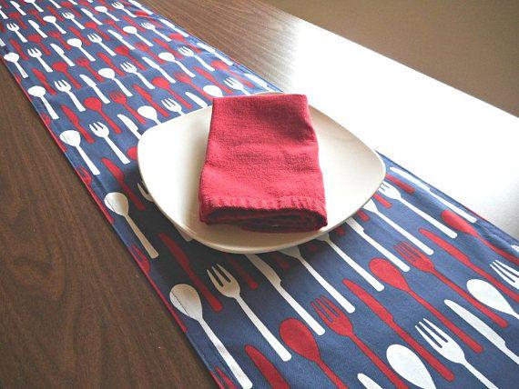 Kitchen Table Runner Utensils Red White Blue Patriotic Fourth