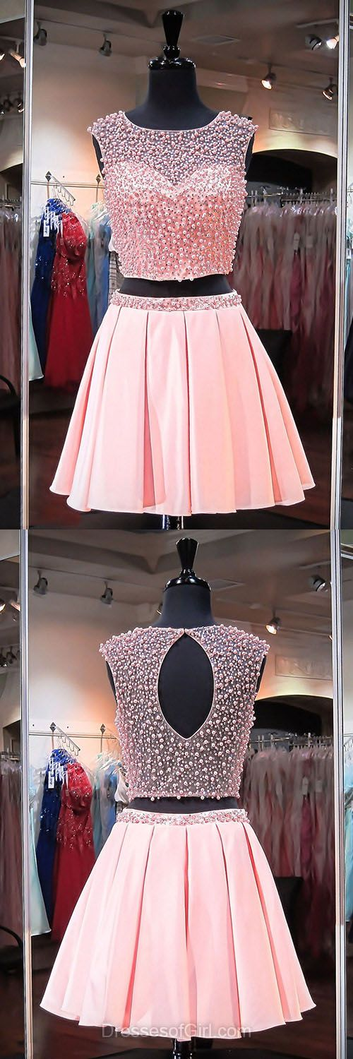 Two Piece Prom Dress, Short Homecoming Dresses, Pink Cocktail Dress, Cheap Formal Gowns, Sexy Club Dress
