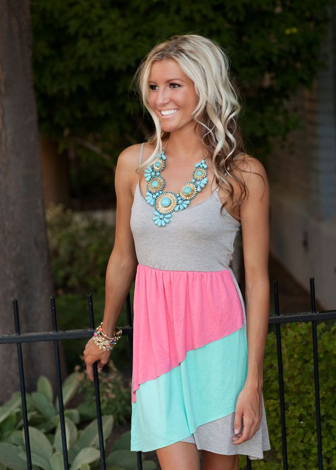 Pink Color Block Ruffle Dress. And statement necklace.