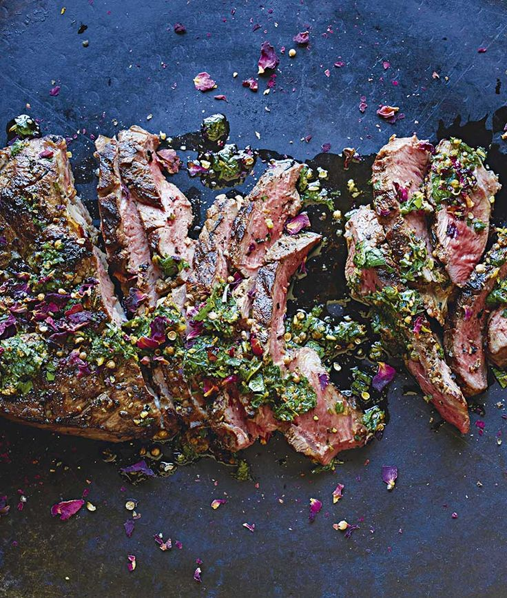 Butterflied lamb with mint and pink peppercorn chermoula