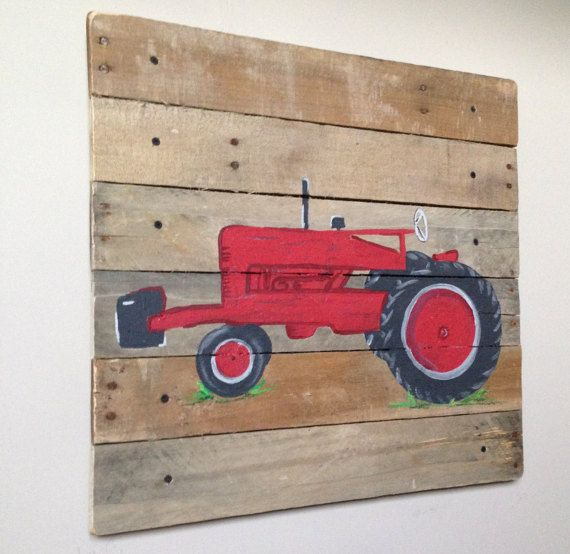 Red Tractor art rustic art20x20Pallet by RusticTreeHouse on Etsy