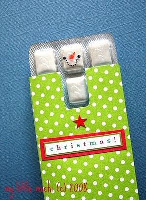 Snowman gum! Cute idea for little gifts. Christmas gift diy
