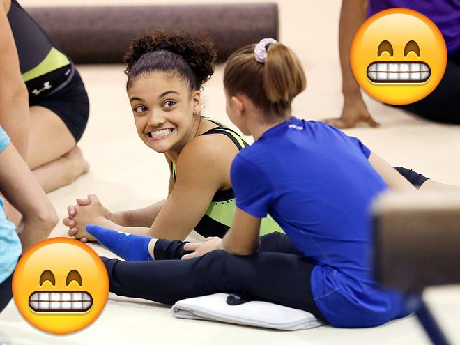 7 Times Gymnast Laurie Hernandez Lived Up to Her Title of 'Human Emoji'   1. WHEN SHE CHATTED WITH A FELLOW GYMNAST   Laurie is the literal embodiment of the grinning emoticon, TBH.
