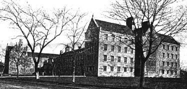 "The Blackwell's Workhouse was built in 1852 to replace a century-old similar facility at Bellevue. Containing 221 cells arranged in tiers along the three-story walls of granite, the building functioned as an institution for punishment of petty violators, many of whom were classified as habitual ""drunks and disorderlies,"" including several who virtually became permanent residents even though the usual stays were counted in days."