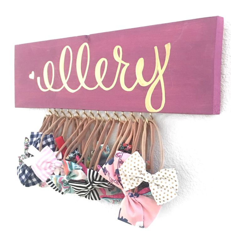 Baby Bow Holder, Headband Holder, Bow Storage, Nursery Decor, Baby Accessories, Headband Storage, Personalized Bow Holder by ElleberryBaby on Etsy https://www.etsy.com/listing/476086495/baby-bow-holder-headband-holder-bow
