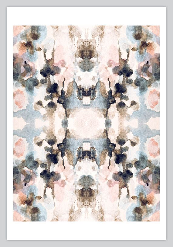Abstract Kaleidoscope Art Print 12x16 - Ikat  - Symmetry - Ink Blot - Rorschach - Pattern - Blue - Pink - Tie Dye