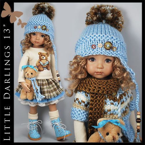"Blue & Brown Bear Outfit for Little Darlings Effner 13"" by Maggie & Kate Create"