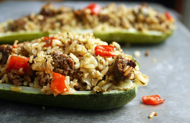 Stuffed Zucchini with Red Pepper and Basil for Phase 1 -- Great to make ahead and just reheat in the microwave. Get the recipe from our newsletter.