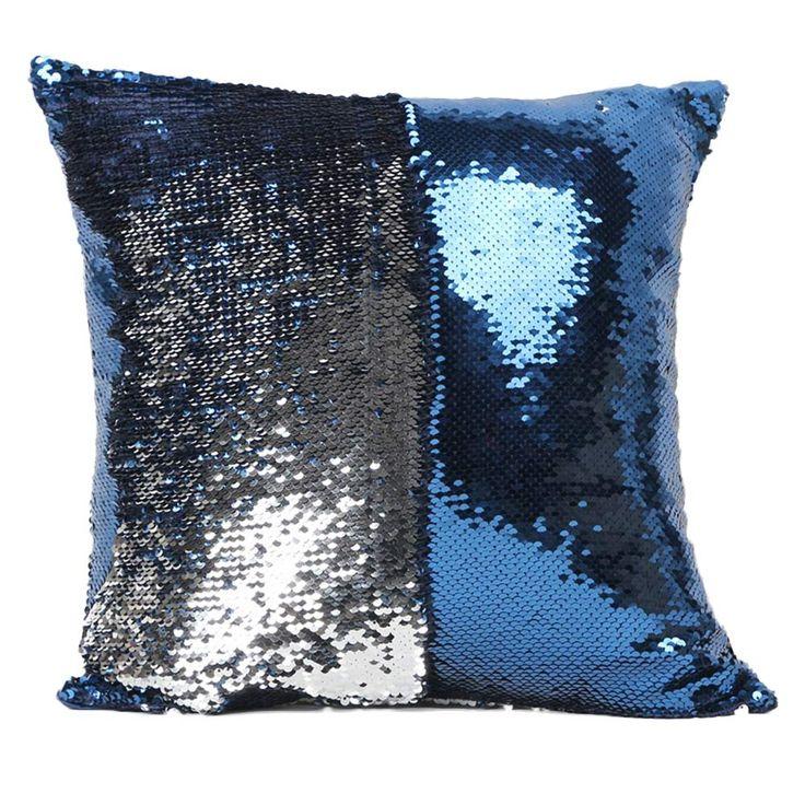 2016 Fashion DIY Two Tone Glitter Sequins Hi Throw Pillow Decorative Cushion Case Car Covers Coussin Decor Almofadas travesseiro