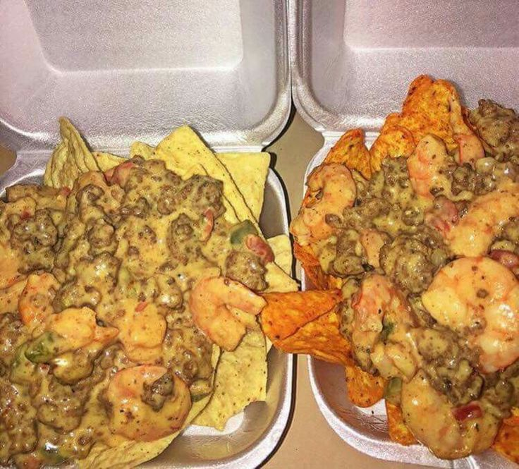 Shrimp and beef nachos