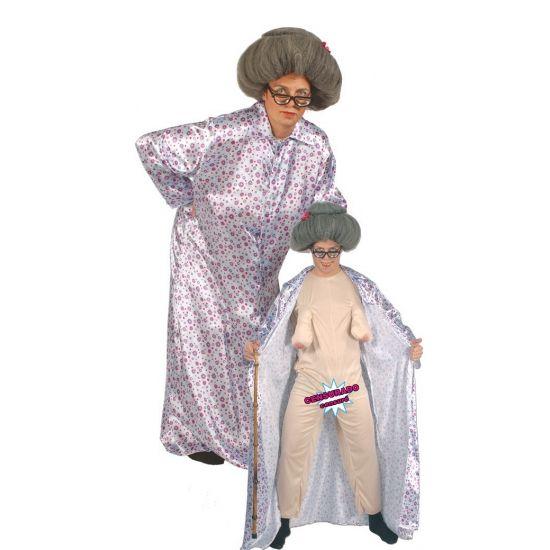 Naakte oma kostuum. Dit grappige oma kostuum bestaat uit een huidskleurige jumpsuit met hangborsten en een bloemetjes badjas. Maak je outfit helemaal compleet met een wandelstok, bril en een grijze oma pruik. One size model(M/L).