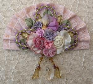 ** Silk Ribbon Embroidery Pin Jewelry Brooch
