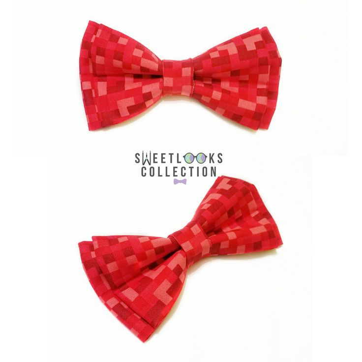Red Pixel Bow Ties And Hair Bows