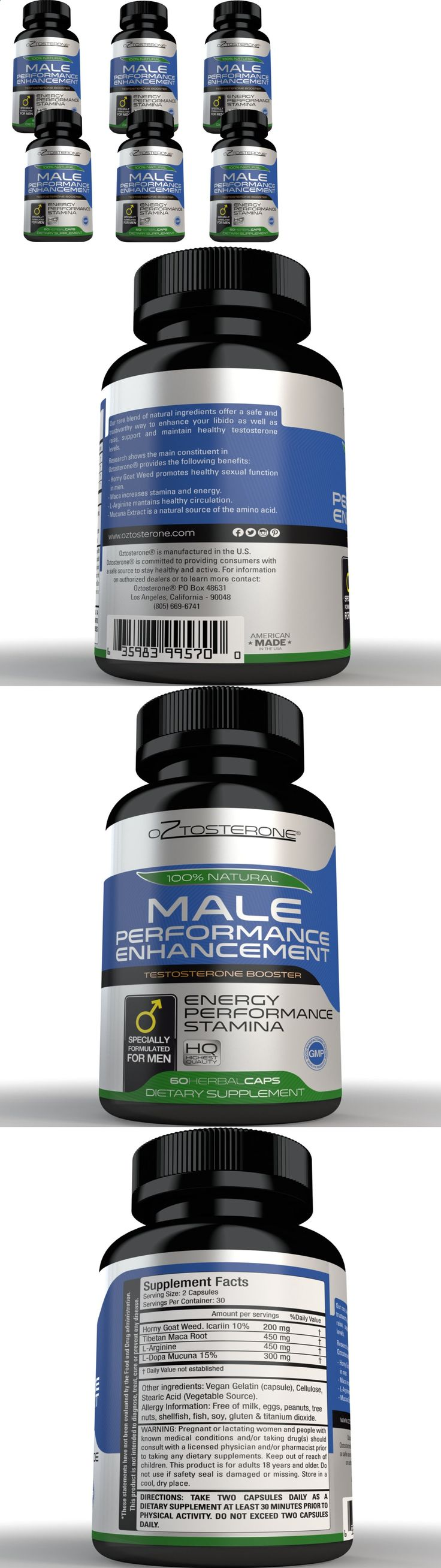 Sexual Remedies and Supplements: 6 Oztosterone Male Sexual Performance Enhancement - Testosterone Booster For Men BUY IT NOW ONLY: $42.0