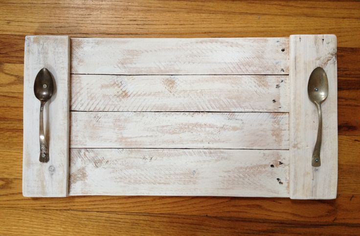 "23"" Pallet Wood Serving Tray with Spoon Handles"