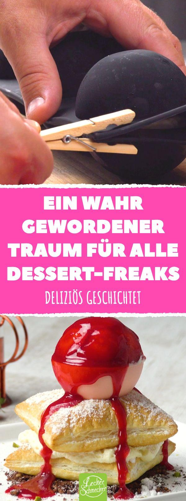 Ein wahrer Traum für alle Dessert-Freaks. Erdbeereis-Kugel mit Schoko -…  – Desserts – Nachtisch – Nachspeise