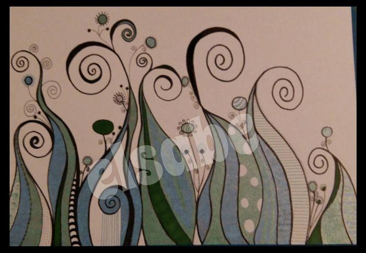 coloured waves - doodle art