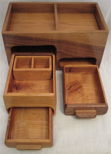 Walnut and Alder Men's Valet Box Made With Bandsaw/Miter Saw, Hidden Drawer, Tray And False Bottom. - by Blackie_ @ LumberJocks.com ~ woodworking community