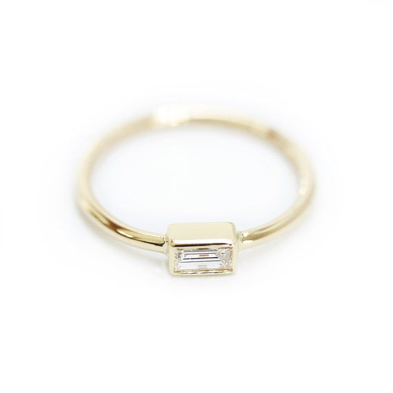 Baguette Diamond Engagement Ring In Bezel Set by KHIMJEWELRY
