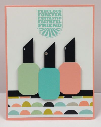 "Fingernail Polish Punch Art Stampin Up ""Friend"" Card Kit (5 cards)"