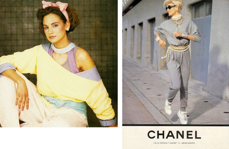 de trend in begin jaren tachtig opengeknipte sweatshirts en sprtkleding, kwam tot een hoogtepunt na het uitkomen van de film 'Flashdance' in 1983.