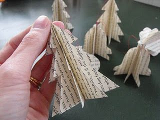 Make ornaments from the pages of old books (hmm, what about an old hymnal?)  Stack four pages, and trace the shapes you want.  Sew down the center, then cut out all four pages at once.  Fold to flare out, and attach a loop at the top to hang.  (How about a little gold bead on the top of the tree?):