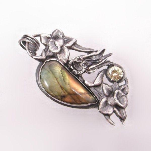 żonkile,artystyczny,unikat,irydyzacja,artclay - Wisiory - Biżuteria w ArsNeo