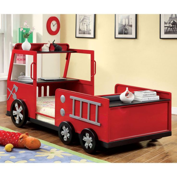 rescue city freddy twin fire truck bed red kids panel beds at hayneedle - Truck Bed Frame