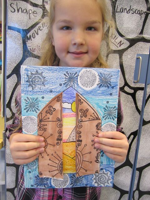 Middle East cultural focus projects.  This project had lots and lots of steps.  We began with an introduction to Egypt and had lots of fun talking about pyramids.  Then we drew and colored in a beautiful little pyramid landscape.  Next came a review of Middle Eastern ceramic tiles