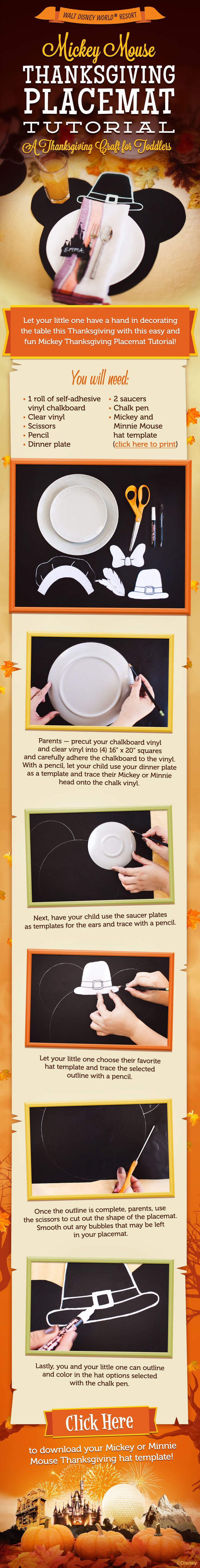 Mickey Mouse Thanksgiving Placemat Tutorial from Walt Disney World!