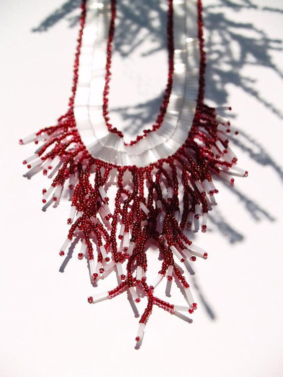 Beaded statement necklace Dianthus caryophyllus