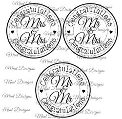 WEDDING digi stamp set  Mr and Mrs  Mr and Mr  Mrs and Mrs  Sentiment circle stamps  on Craftsuprint - View Now!