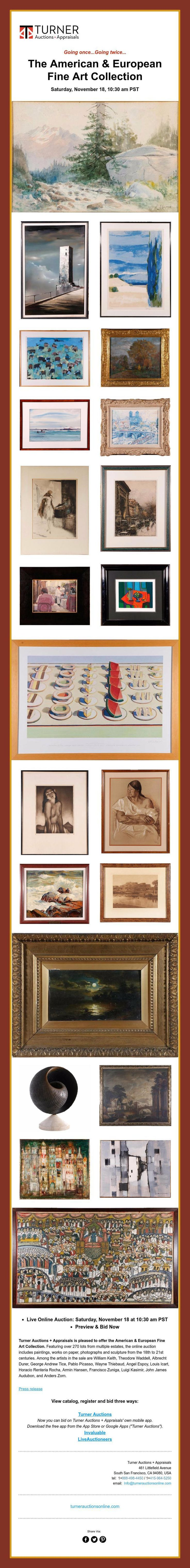 Going once...Going twice...    The American & European   Fine Art Collection  Saturday, November 18, 10:30 am PST