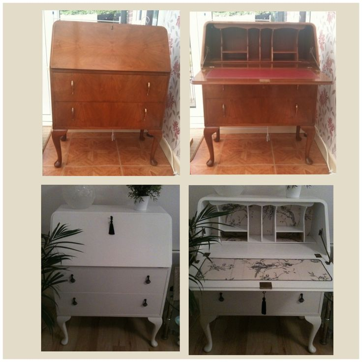 Writing bureau before and after.