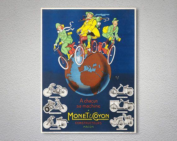 Monet & Cayon Constructeurs Vintage bicyclettes, motos affiche par Mich, 1911-affiche, autocollant ou impression sur toile